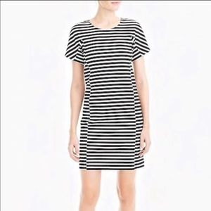 J.Crew Striped T Shirt Dress Black & White